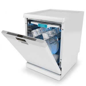 Picture of modern dishwasher with door open slightly