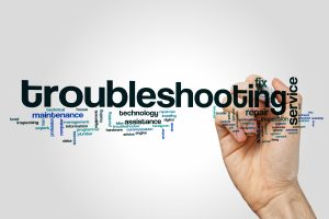 Word cloud with keyword Troubleshooting.